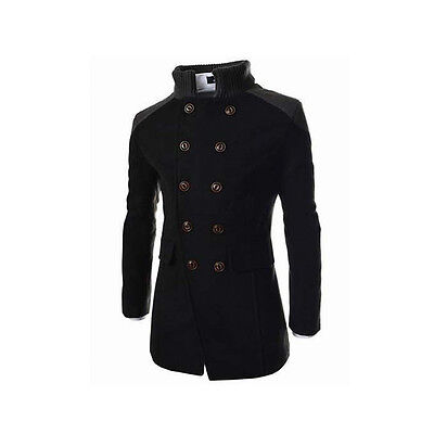 Men's Slim Stylish Black Trench Coat Winter Long Jacket Double Breasted Overcoat