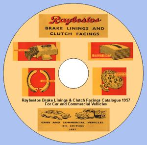 Raybestos Guarnizioni Dei Freni /& Frizione strati piani catalogo 1957 per auto e commerciale