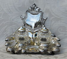 Scandinavian Solid Silver Inkstand with two Inkwells, Stockholm 1890 Calamaio