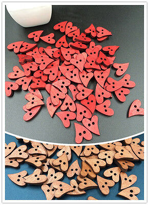 Free 50PCs 2 Holes Wood Sewing Buttons Heart Love   Fit Sewing Scrapbook 21mm