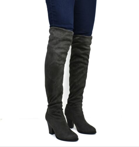 New Ladies Women thigh high over knee mid high heel stretch boots size UK 2-8