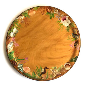 Vintage-Hand-Painted-Folk-Art-Treen-Wood-Serving-Platter-Tray-with-Sea-Life