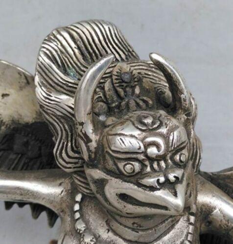 "6/"" Old Tibet Tibetan Silver Redpoll Winged Garuda Statue"