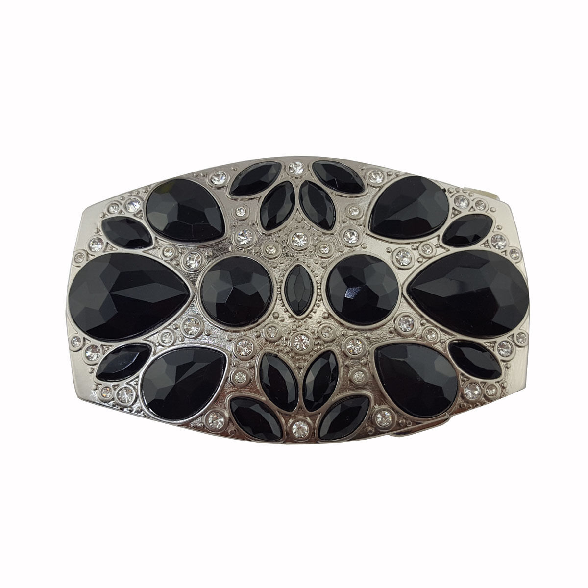 Silver Buckle with Black stone