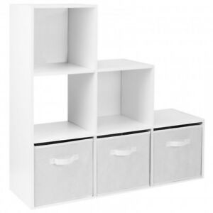 new styles d8960 a63ea Details about 6 10 Cube White Bookcase Step Ladder Wooden Display Unit  Shelving Storage Booksh