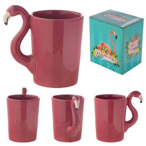 Funky Pink Flamingo Shaped Handle Ceramic Mug
