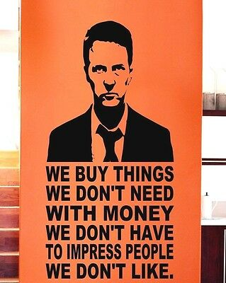 FIGHT CLUB QUOTES VINYL WALL DECAL STICKER MURAL LETTERING MOVIE MONEY TALK