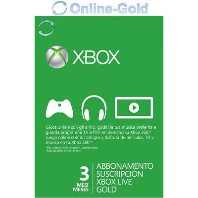 Abbonamento Xbox Live Gold di 3 mesi Codice Microsoft Xbox One 360 chiave - IT