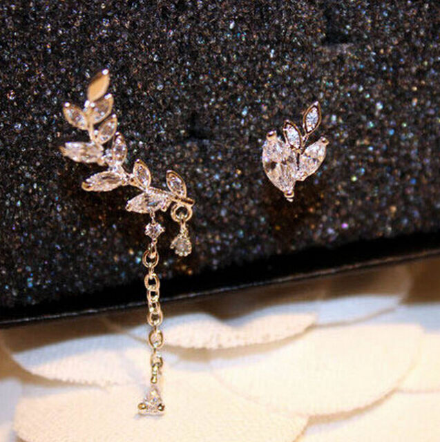 Fashion Charm Asymmetric Silver & Gold Leaf Crystal Ear Cuff Stud Clip Earrings