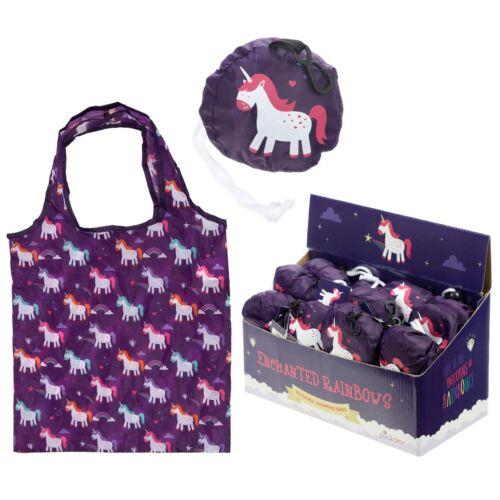 Réutilisable Pliable Shopping Sac-Enchanted Rainbow Licornes-Violet
