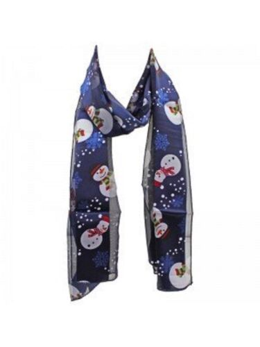 NEW FESTIVE LADIES SATIN STRIPE SNOWMAN CHRISTMAS SCARF NAVY BLUE IDEAL GIFT