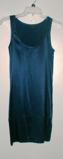 SEXY THEORY SILKSOE NAVY Blau STRETCH SLIP DRESS Größe 0