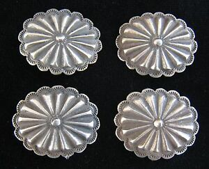 (4) 3rd PHASE SILVER CONCHO / BUTTONS 1 1/4 X 1 #1016