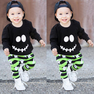Toddler Boys Girls Ghost Print Tops Pullover Pants Halloween Outfits Set Green