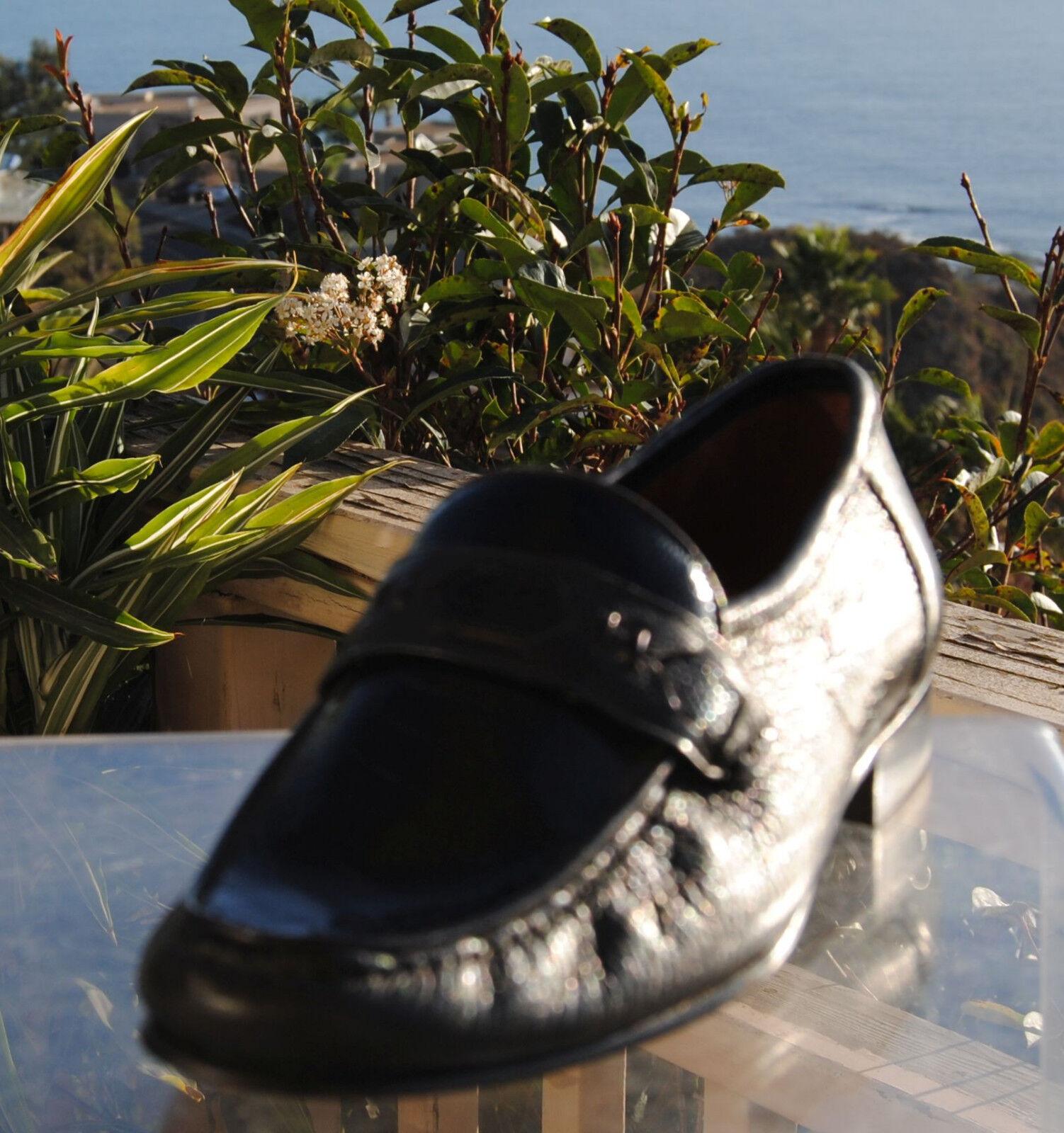 Serena ditalia-Hommes Italien noir cerf peau avec Faux autruche Jambe Chaussures-Taille 7.5