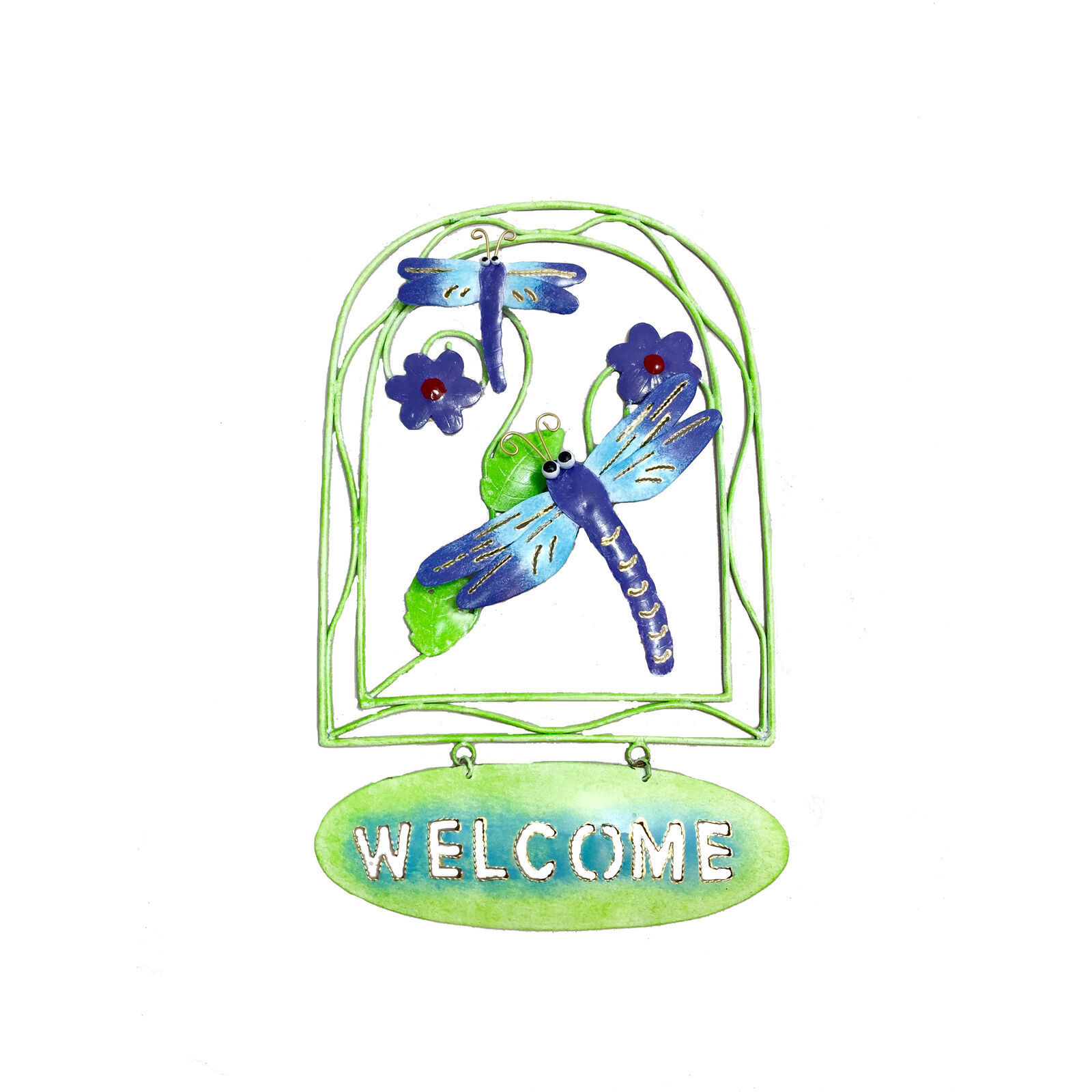 My Family House Dragonfly Welcome Sign - Multicoloured Metal - Handmade - 36 cm