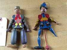 Lot of 2 - Vintage Wood Pull String Toy Puppets - Made in Austria
