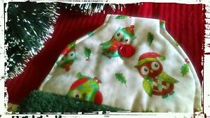 Christmas-Owls-DARK-GREEN-hanging-Hand-Towel-Handmade-Button-Close-New