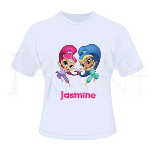 Personalised-Childrens-Girls-Shimmer-And-Shine-T-Shirt-White
