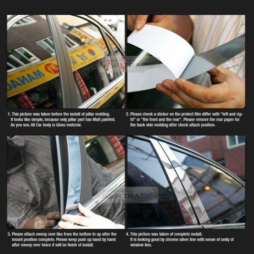 Chrome Pillar Post Flexible Stainless PC Molding 6Pcs For INFINITI 2007-13 G37