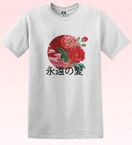 Le-Japon-Love-T-shirt-fleurs-Forever-Indie-Floral-Tee-ciel-Drapeau-Retro-Kanji-Art