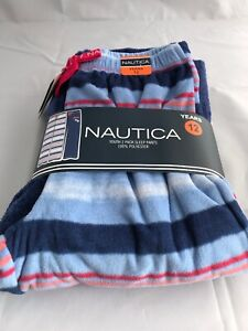 Nautica Girls Lounge Pajama Pants Sleep 2-Pack Plush Blue Dream Striped NWT