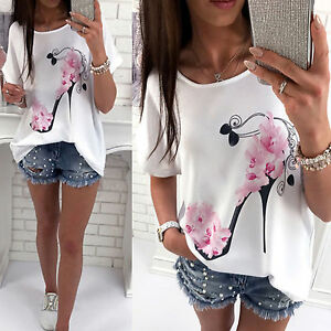 Summer-Women-Blouse-Floral-Print-Short-Sleeve-Casual-Loose-T-shirt-Tops-Tee-New