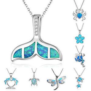 Cute-Sea-Turtle-Blue-Fire-Opal-Pendant-925-Silver-Chain-Necklace-Jewelry-Gift