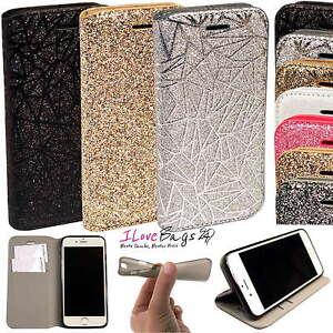 Glitzer-Schutz-Huelle-fuer-Samsung-Apple-Handy-Tasche-Flip-Cover-Case-Bumper-Etui