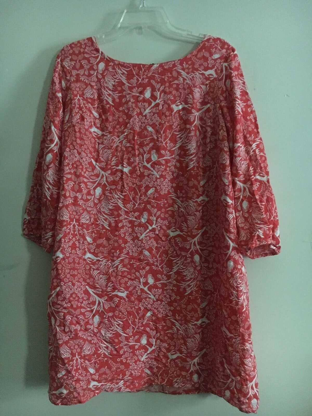 Old Navy Women Red orange and White Floral Patterned Shirt Dress Size M