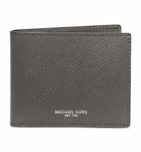 7d16fd73e5b3 $235 MICHAEL KORS Men's GRAY LEATHER DOUBLE BILLFOLD 6CC CARD RFID ...