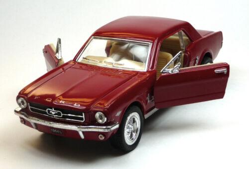 AUTO d/'epoca modello da collezione 1964 1//2 FORD MUSTANG ROSSO SCURO circa 1:36 Kinsmart Merce Nuova
