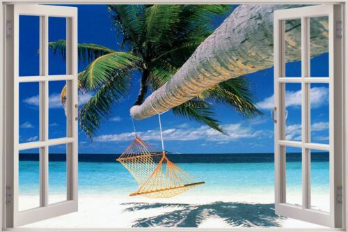 3D Effect Window View Beach Palm Hammock Sticker Wall Poster Vinyl GA1-211