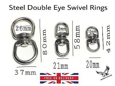 STEEL DOUBLE EYE SWIVEL RINGS DOG LEADS ANTI TANGLE HOOKS CLASPS BOAT ROPE CHAIN