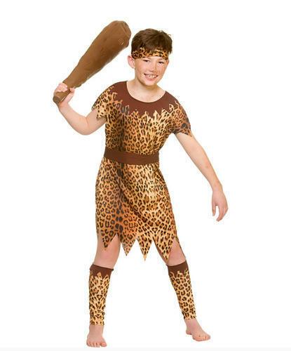 Stone Age Cave Boys Fancy Dress Book Week Wild Caveman Kids Childrens Costume