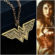 Wonder Woman Necklace Pendant Logo Gold Antique DC Marvel UK Seller