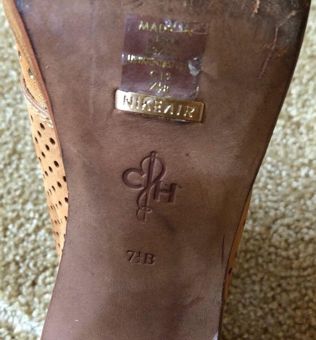 "Cole Haan Leather Stiefel Stiefelies Größe Block 7.5 Platform 4"" Block Größe Heel Lace-Up Tan f9fa68"