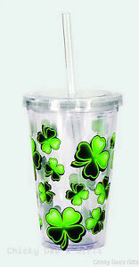 IRISH-SHAMROCKS-Double-Wall-Acrylic-Travel-Cup-w-Straw-by-Spoontiques