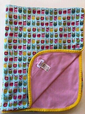 Pink//Orange//Blue Owl Reversible Baby Blanket Gift Set Petite l/'amour