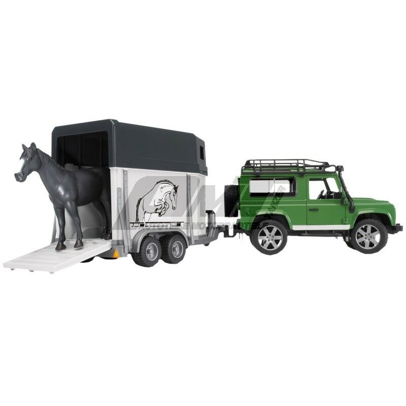 Bruder 02592 - Land Rover Defender mit Pferdeanhänger inkl. 1 1 1 Pferd 3ec7cc