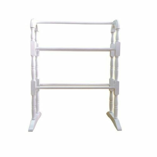 Free Standing Wooden Bathroom Towel Storage Rail Holder Cloth Hanging Rack Stand