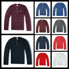 New Hollister by Abercrombie A&F Men Henley Long Sleeve T-SHIRT Muscle All Size
