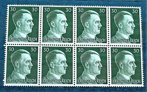 WW2-GENUINE-HITLER-3rd-REICH-ERA-GERMAN-BLOCK-OF-8-STAMPS-A-HITLER-30rf-MNH
