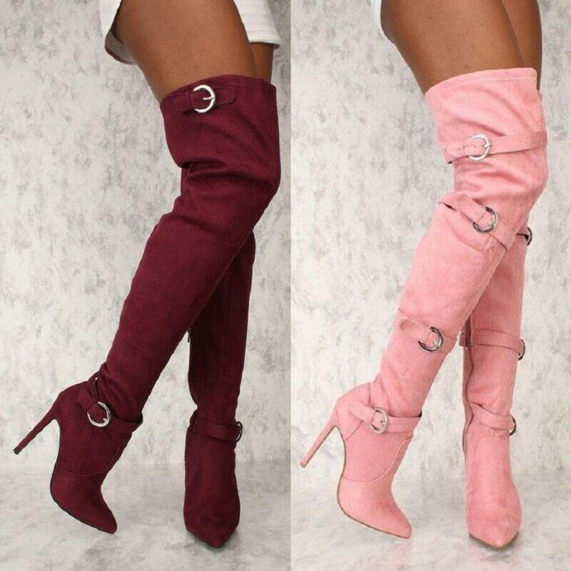 Spitz Stilettos High Heel Overknee Stiefel Damen Zeigen Faux-Wildleder 45 46 47