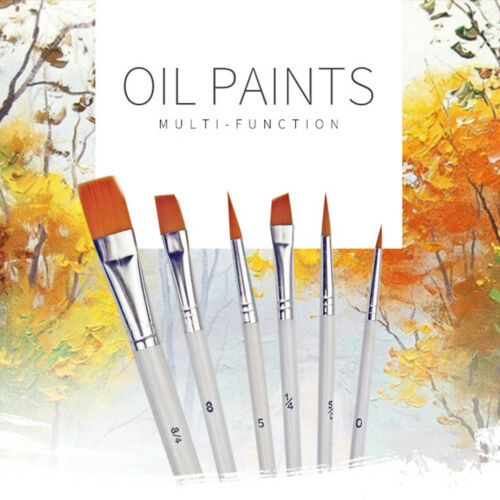 6Pcs Art Painting Brushes Set Acrylic Oil Watercolor Artist Paint Brush Set HV