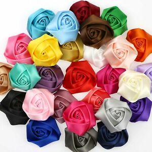 80Pcs DIY Satin Ribbon Flower with Crystal bead Wedding Appliques//Sewing Crafts
