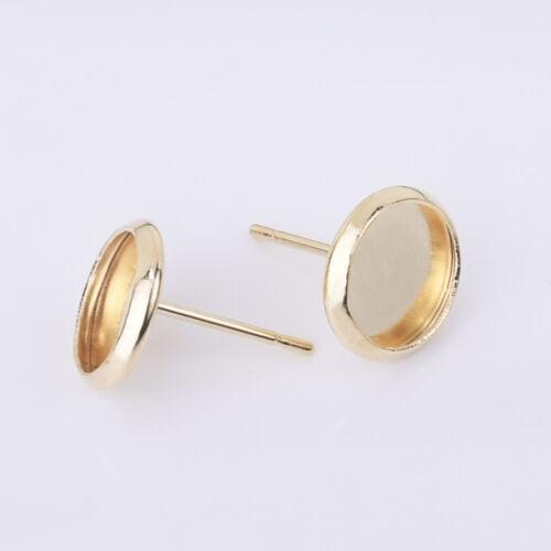 Stainless Steel Round bezel Earring Blanks earring base Bezel Earring Stud 30pcs