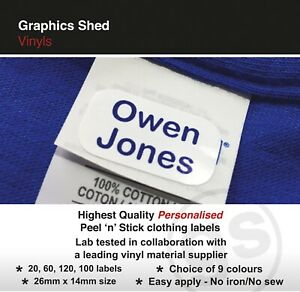 Bastone-in-Etichette-Nome-Abbigliamento-Vestiti-School-Uniform-Home-Care-NO-Iron-sew