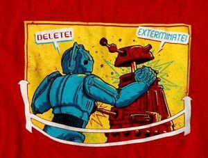 Parody DR.WHO Dalek vs Cyberman ROCK EM SOCK EM ROBOTS Marx Toy Tee Shirt SMALL