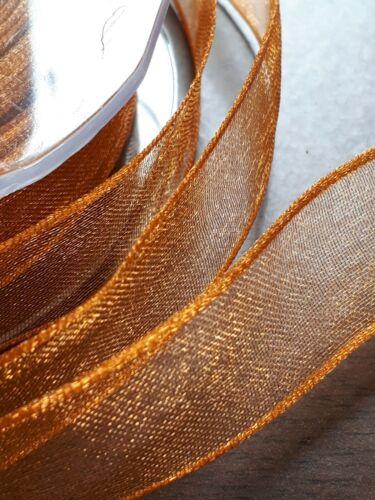 Bronze organza ribbon @ 25mm  wide price per metre